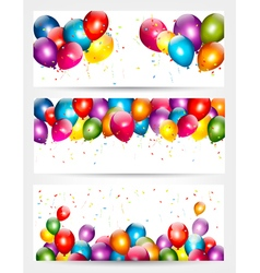 Three holiday birthday banners with balloons vector