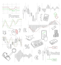 Forex market hand drawn background with vector