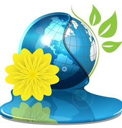 Globe with water and yellow flower vector