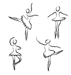 Set of abstract ballet dancers vector