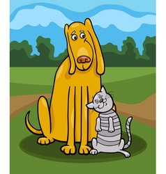 Dog and cat in friendship cartoon vector