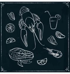 Menu design with seafood on blackboard vector