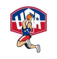 Basketball player shooting jumping ball vector
