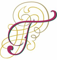 Script letter t vector
