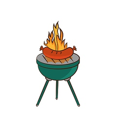 Barbecue with sausage and flame vector