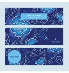 Blue night flowers horizontal banners set pattern vector
