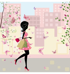 Spring shopping vector