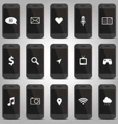 Icon function of mobile phone pattern vector