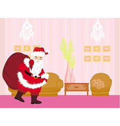 Santa claus with a bag of gifts vector