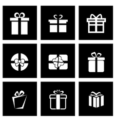 Black gift icon set vector
