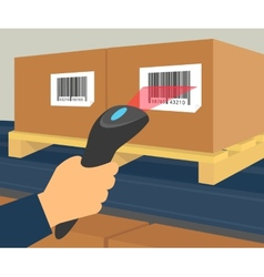 Barcode scanning at the warehouse vector