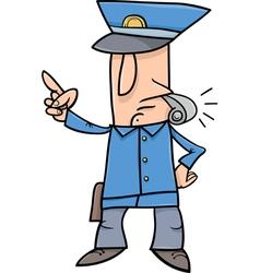 Policeman with whistle cartoon vector