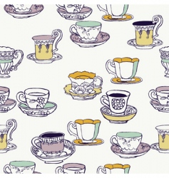 Cups and saucers background vector