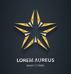 Silver and gold star logo award 3d icon metallic vector