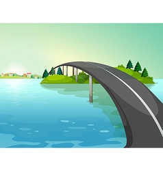 A long road above the river vector