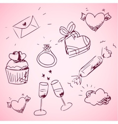 Sketchy valentine day icons vector