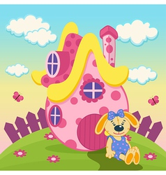 Rabbit with a pink house vector