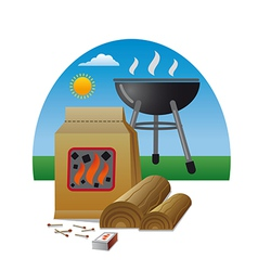 Firewood and barbecue vector