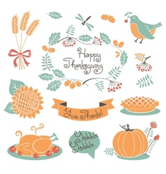 Happy thanksgiving set of elements for design vector
