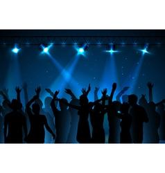 Neon disco background dancing people vector