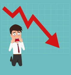 Business failure down trend graph make shocked vector