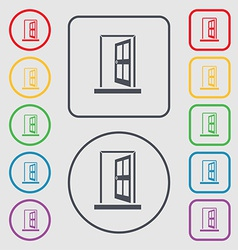 Door enter or exit icon sign symbol on the round vector