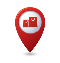 Map pointer with shopping bags icon vector