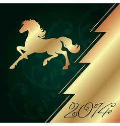 Background with horse silhouette christmas tree vector
