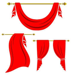 Red curtain vintage set on white background vector