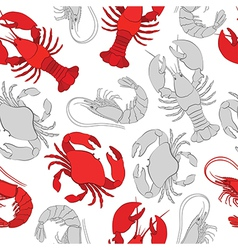 Seafood lobster crab and prawn vector