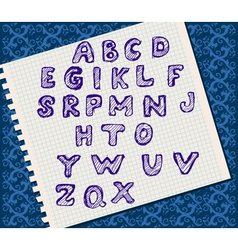 Alphabet handwritten on a piece of paper vector