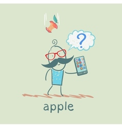 Man holding a mobile phone and an apple falls on vector