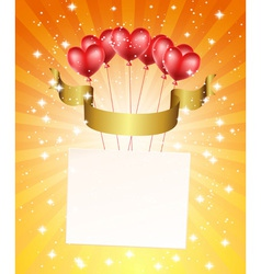 Holiday background with heart balloons vector