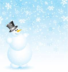 Snowman on snowy background vector