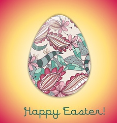 Easter egg greeting card with abstract hand drawn vector
