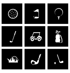 Black golf icon set vector