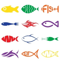 Set of creative colorful fish icons vector
