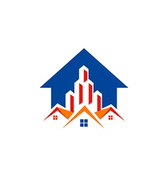 House realty building construction arrow logo vector