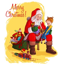 Santa claus give presents to children vector