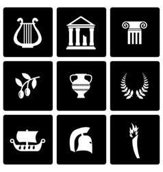 Black greece icon set vector