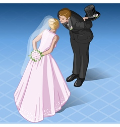 Isometric kissing wedding couple vector