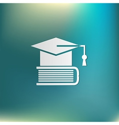 Graduate hat on the book icon teachings vector