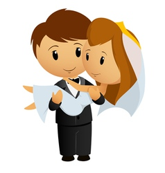 Groom hold bride vector