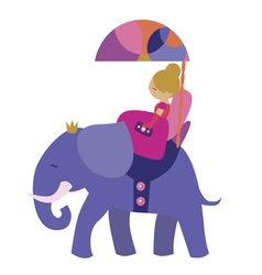Cute princess with elephant vector