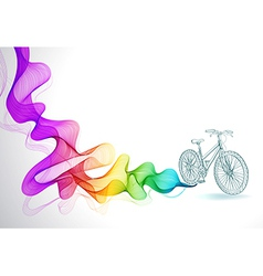 Abstract colorful background with wave and bicycle vector