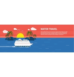 Cruise ship and clear blue water water tourism vector