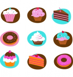 Food and kitchen icons cakes vector