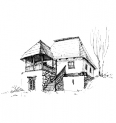 Rural house sketch vector