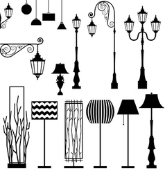 Vintage and modern lamp set vector