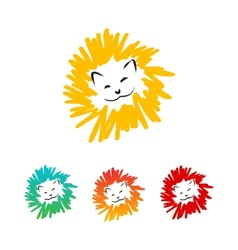 Colorful lions vector